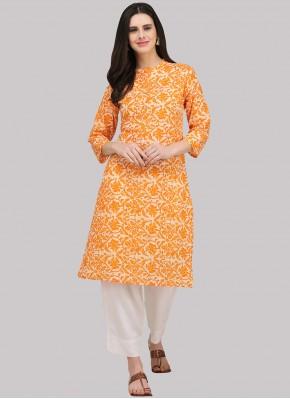 Orange Print Festival Party Wear Kurti