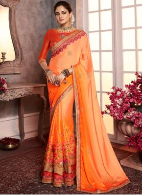 Orange Silk Border Classic Saree