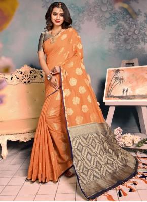 Orange Silk Party Designer Saree