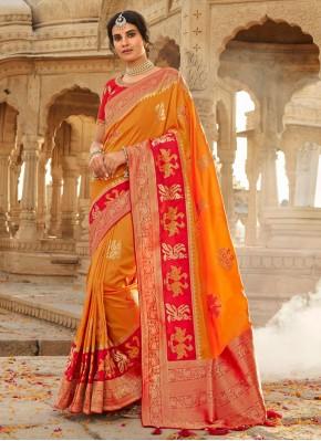 Orange Silk Weaving Traditional Designer Saree