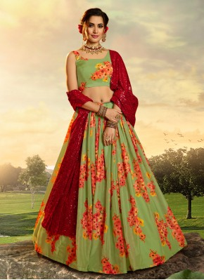 Organza Lehenga Choli in Green