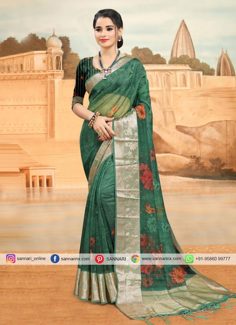 Organza Printed Printed Saree in Rama
