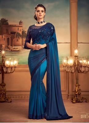 Orphic Blue Engagement Shaded Saree