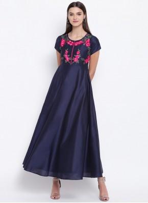 Orphic Cotton Silk Fancy Blue Party Wear Kurti