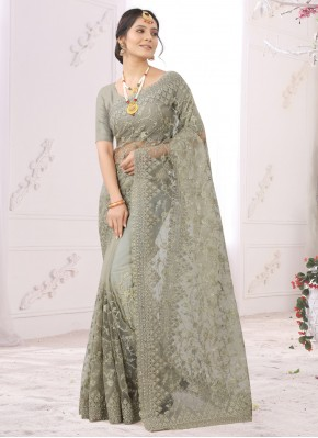 Orphic Embroidered Grey Classic Saree