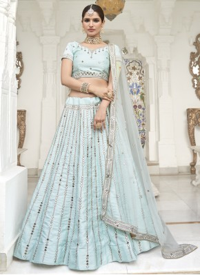 Orphic Mirror Aqua Blue Silk Trendy Lehenga Choli