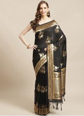 Orphic Silk Black Designer Traditional Saree