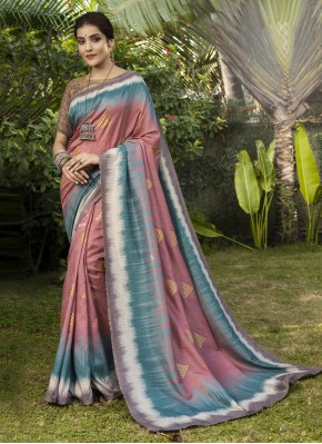 Orphic Silk Digital Print Pink Trendy Saree