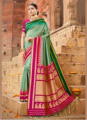 Orphic Silk Green Weaving Silk Saree
