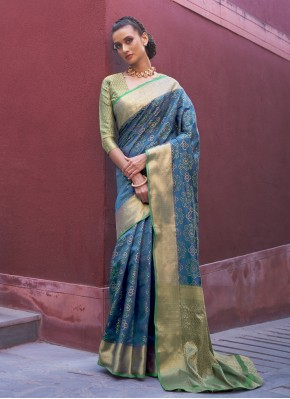 Orphic Silk Weaving Blue Traditional Saree