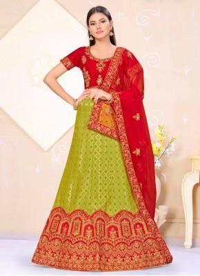 Orphic Weaving Green and Red Lehenga Choli