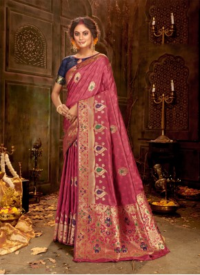 Outstanding Banarasi Silk Weaving Pink Classic Saree