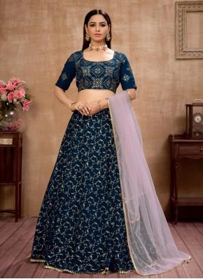 Outstanding Faux Georgette Blue Fancy Lehenga Choli