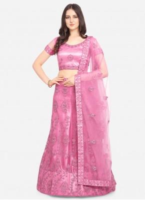 Outstanding Hot Pink Patch Border Net Lehenga Choli