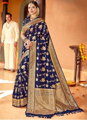 Outstanding Navy Blue Silk Classic Saree