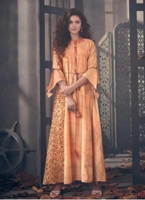Outstanding Orange Designer Kurti