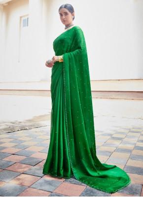 Paramount Faux Chiffon Swarovski Green Classic Saree