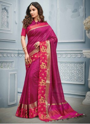 Paramount Hot Pink Cotton Trendy Saree