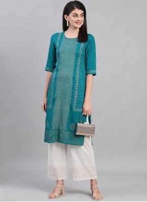Paramount Print Cotton Rama Designer Kurti