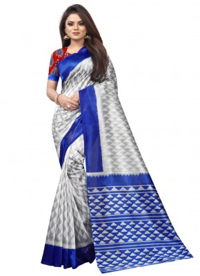 Paramount Raw Silk Abstract Print Blue Traditional Saree