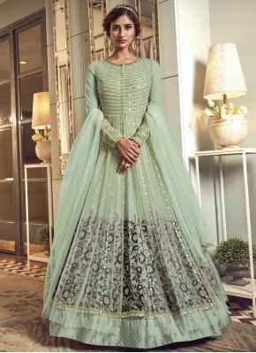 Paramount Sea Green Resham Net Floor Length Anarkali Suit