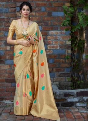 Paramount Silk Weaving Beige Designer Saree