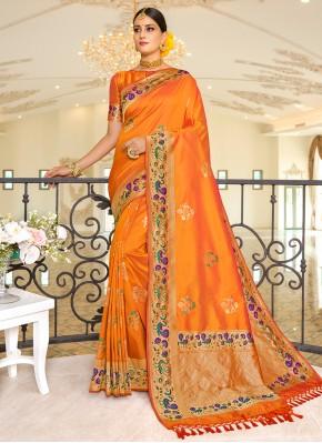 Paramount Weaving Orange Traditional Saree