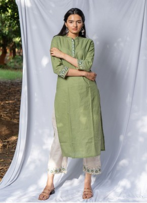 Party Wear Kurti Embroidered Cotton in Green