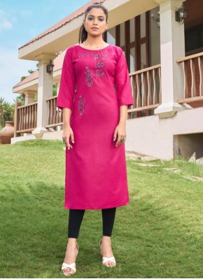 Party Wear Kurti Embroidered Cotton in Hot Pink