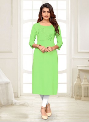 Party Wear Kurti Embroidered Rayon in Green