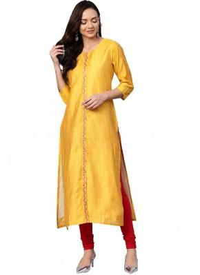 Party Wear Kurti Fancy Art Silk in Yellow