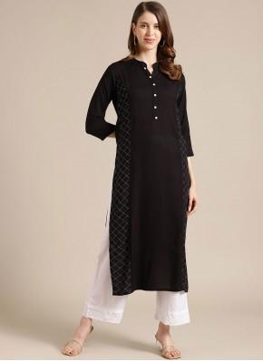 Party Wear Kurti Fancy Blended Cotton in Black