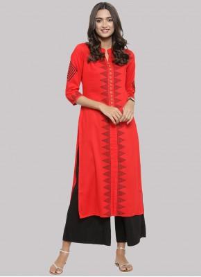 Party Wear Kurti Fancy Cotton in Red