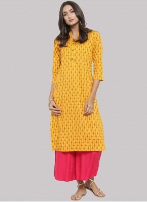 Party Wear Kurti Fancy Cotton in Yellow