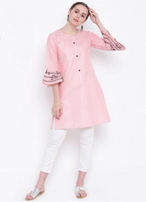 Party Wear Kurti Fancy Cotton Silk in Pink