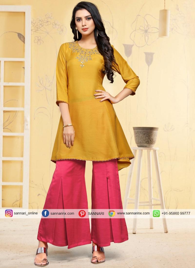 Party Wear Kurti Fancy Fancy Fabric in Mustard