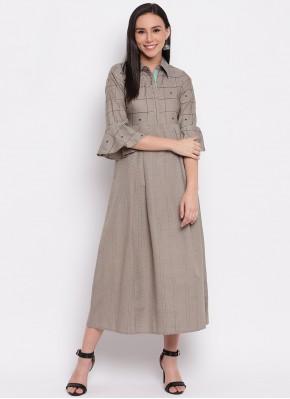 Party Wear Kurti Plain Cotton in Grey
