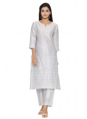 Party Wear Kurti Plain Fancy Fabric in Grey