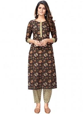 Party Wear Kurti Print Cotton in Brown
