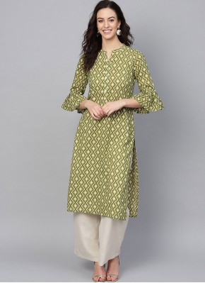 Party Wear Kurti Print Cotton in Green