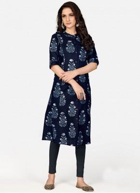 Party Wear Kurti Print Cotton in Navy Blue