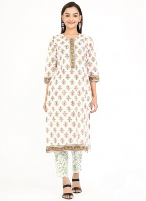 Party Wear Kurti Printed Cotton in Off White