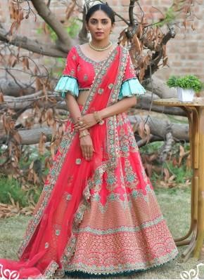 Pashnima Silk Resham Lehenga Choli in Rose Pink