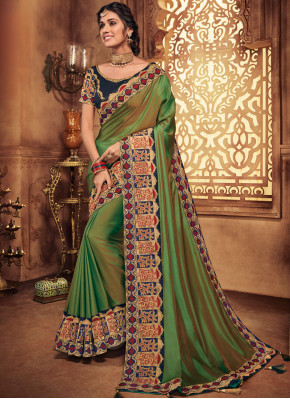 Patch Border Art Silk Traditional Saree in Green