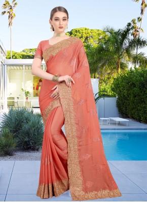Patch Border Faux Chiffon Classic Designer Saree in Peach