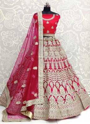 Patch Border Net Lehenga Choli in Pink