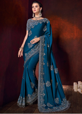 Patch Border Satin Classic Designer Saree in Teal