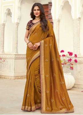 Patch Border Silk Designer Saree in Mustard