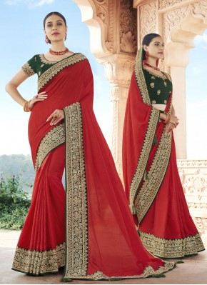 Patch Border Silk Traditional Designer Saree in Red