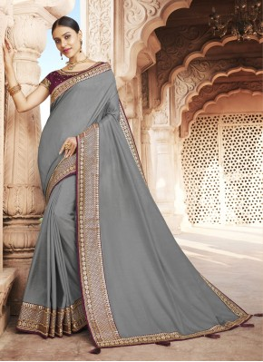 Patch Border Silk Traditional Saree in Grey